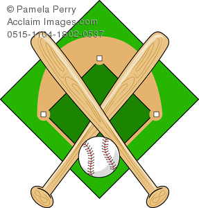 clip art illustration of two baseball bat and a baseball over a baseball diamond