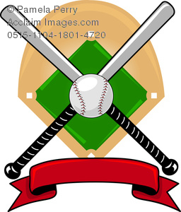 clip art illustration f two baseball bats, a baseball and a banner in front of a baseball diamond