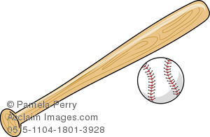 clip art illustration of a baseball bat and baseball on a white background