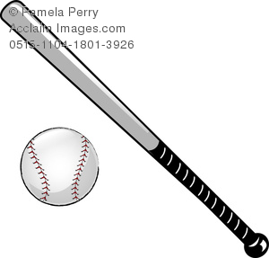 clip art illustration of baseball and bat
