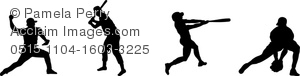 clip art silhouette of a banner of baseball players