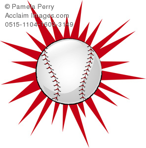 clip art illustration of a baseball with a red star burst behind it