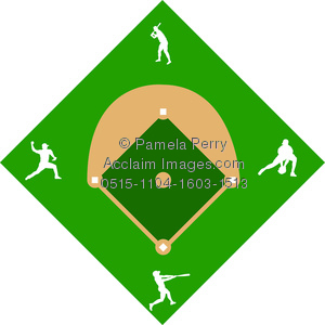 clip art illustration of a baseball diamond with silhouette players