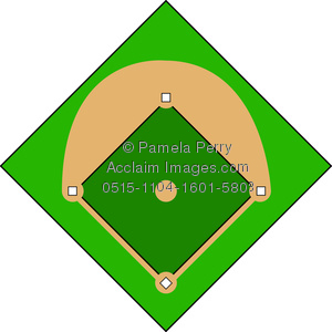 clip art illustration of a baseball diamond