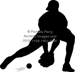 clip art illustration of a silhouette of a baseball player catching a ground ball