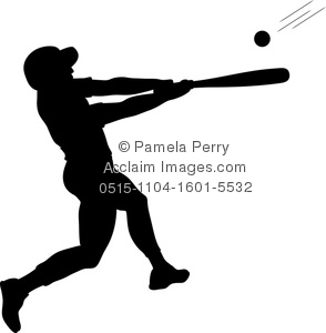 clip art image of a baseball player silhouette up to bat