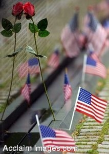 Clip Art Photo of Flags and a Rose at the Vietnam War Memorial Wall