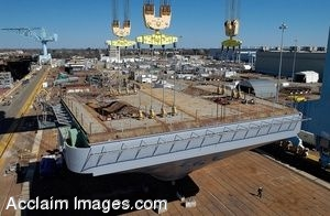 Clipart Photo of the Construction of an Aircraft Carrier
