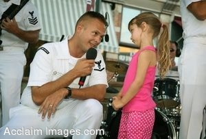 Clipart Photo of a Navy Sailor Singing to a Little Girl