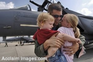 Clip Art of a Soldier Hugging His Wife and Son