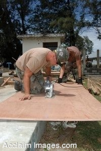 Clipart Photo of Navy Builders Cutting Plywood