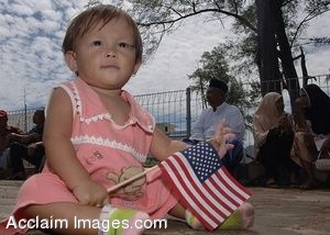 Clip Art Photo of a Filipino Toddler Holding an American Flag