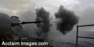 Clip Art Photo Of A Spanish Canarias Gun Blasting Into the Ocean