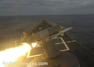 Clip Art Photo of a Spanish Frigate Shooting a Missile