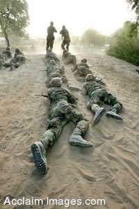 Clip Art of Air Force Basic Training Soldiers Low-crawling