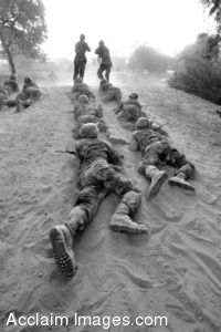 Clip Art Photo of U.S. Air Force Basic Trainees Low-crawling, Lackland Air Force Base, Texas