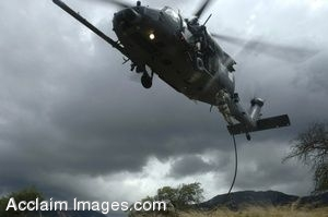 Clip Art Photo of U.S. Air Force Pararescuemen Dropping Out of a Pave Hawk Helicopter
