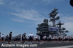 Clipart Photograph of NFL San Diego Chargers, Practicing on Flight Deck