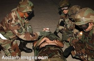 Clip Art Photo of Soldiers Simulating Medical Evacuation