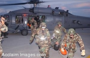 Clip Art of Flight Nurses Carrying a Patient Toward a Helicopter