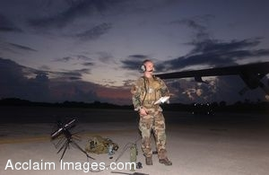 Clip Art Photo of U.S. Air Force Soldier Contacting a Helicopter by Radio