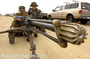 Photo Clip Art of U.S. Navy  Seaman with a Large Ground Weapon