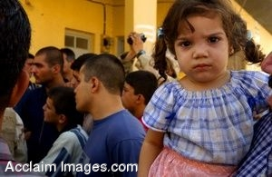 Clipart Photograph of An Iraqi Girl Attends a Small Town Gathering