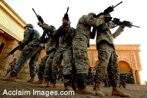 Clip Art Picture of Iraqi Soldiers with Their Weapons Raised
