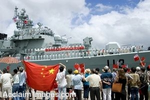 Clipart Photo of Local Spectators Wave to Navy Destroyer As It Moors
