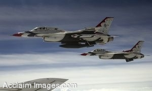 Clip Art Photo of U.S. Air Force F-16 Aircraft in Flight