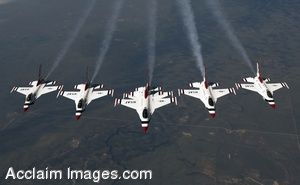 Clip Art of Military Aircraft Flying in Formation