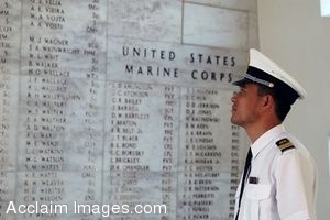 Photo Clip Art of a Chinese Navy Sailor Viewing the Shrine Area of the USS Arizona Memorial During a Historical White Boat Tour of Pearl Harbor