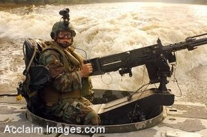 Clip Art Picture of Soldier Aboard a Riverine Assault Craft with His Weapon