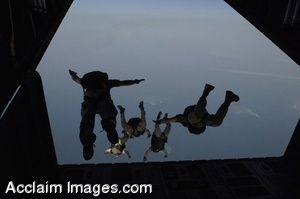 Clip Art of Pararescue Soldiers Jumping From a Plane