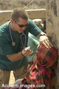 Clipart Photo of U.S. Soldier Puts Eye Drops in a Patient