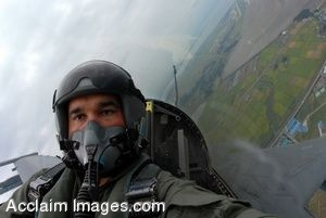 Clip Art of a Military Pilot in His Aircraft
