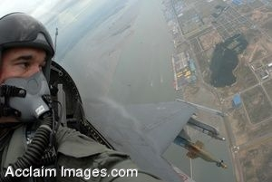 Clip Art Photo of U.S. Air Force  Airman Flying His Plane Above South Korea