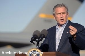 Clip Art Photo of  George W. Bush Giving a Motivational Speech to U.S. Service Members at Charleston Air Force Base