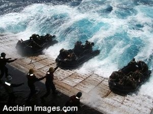 Clip Art Photo of U.S. Navy Soldiers in Combat Rubber Raiding Craft
