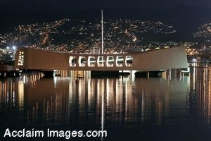 Clip Art Photo Of The USS Arizona Ship Lit Up at Night for Pearl Harbor Memorial