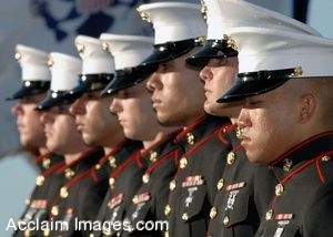 Clip Art of Marine Soldiers in Dress Uniforms