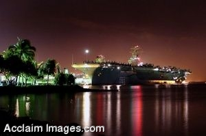 Clipart Photo of A US Navy Aircraft Carrier At Night