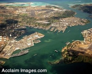 Clip Art Photo of an Aerial View of Pearl Harbor, 1984