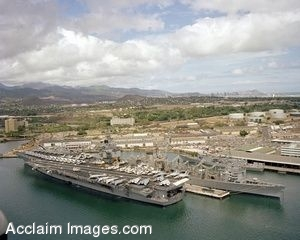 Clipart Photo of an Aircraft Carrier at Pearl Harbor
