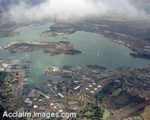 Clip Art Photo of an Aerial View of Pearl Harbor