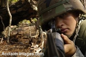 Free Picture of a U.S. Army Soldier Looking Through the Sight on His Rifle