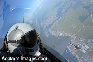 Clipart Photo of a Senior Airman Flying an F-16C