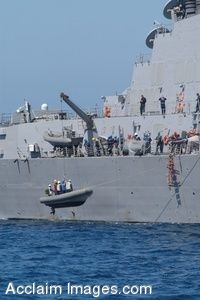 Clipart Photo of Navy Sailors Lowering a Boat Into the Water