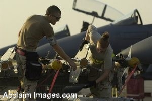 Clipart Photo of Two Airmen Preparing to Load Missiles On an F15 Strike Eagle