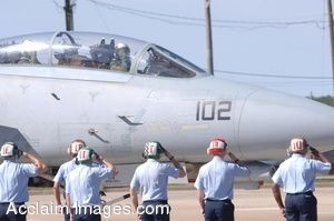 Clip Art Photo of a Jet Crew Giving Salute to the Pilot of F-14 Tomcat Jet